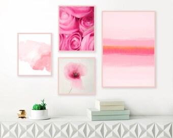 Set of 4 Pink Gallery Wall Prints, Framed Prints for Nursery, Colourful Abstract Art Set, Pastel Paintings, Baby Girls Nursery Prints