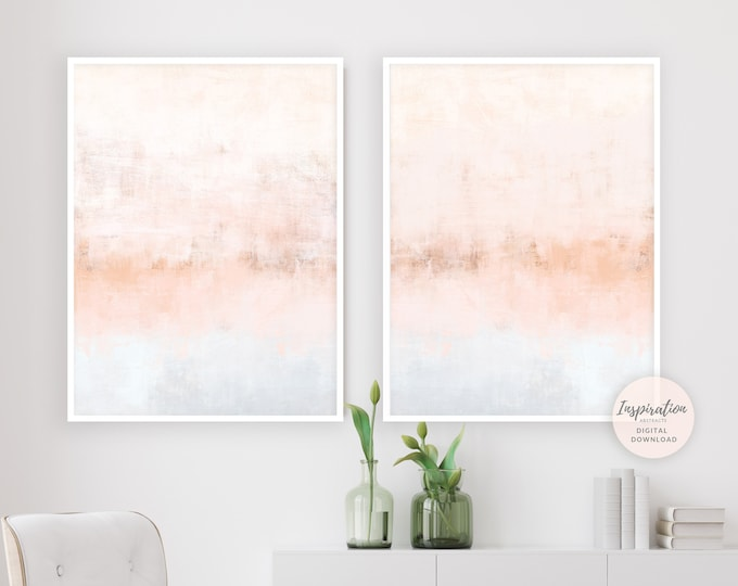 Blush Pink Wall Art, Set of 2 Art Prints, Nursery Art, Large Wall Art, Minimalist Art, Diptych Wall Art, Living Room Decor, Abstract Art