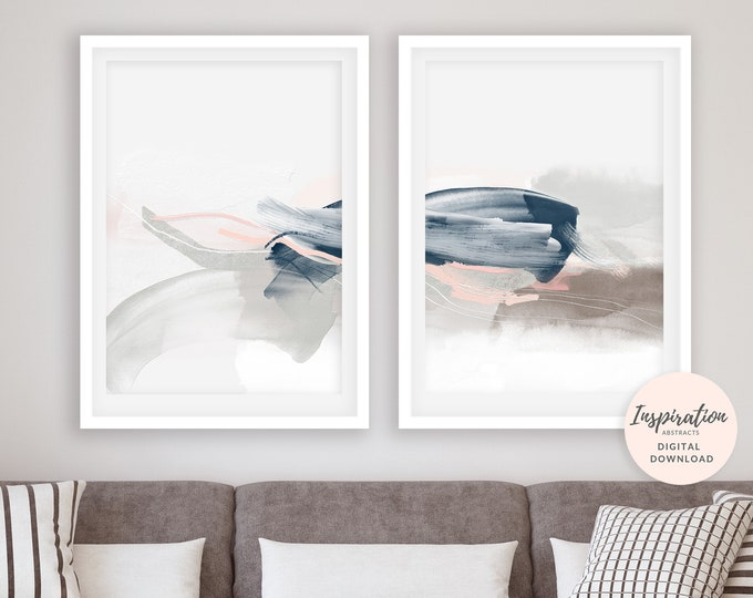Set of 2 Minimal Abstract Prints, Serene Abstract Art, 24x36 Art Prints, Lounge Paintings, Pink Navy Wall Art