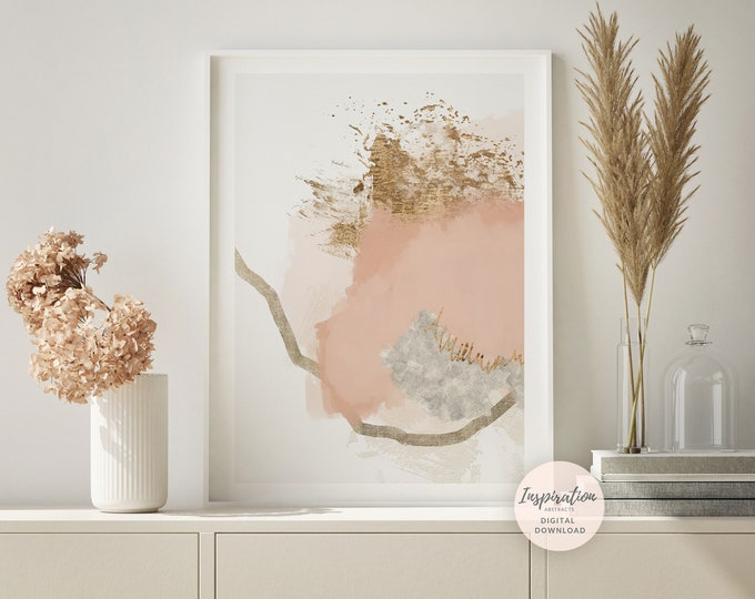 Minimal Abstract Painting, Blush Pink Wall Art, Printable Art, Abstract Art, Large Wall Art, Minimalist Art, Bedroom Wall Art