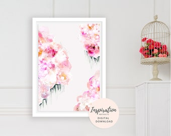 Flower Painting, Mixed Media Art, Printable Wall Art, Peonies Wall Art, Collage Art, Floral Print, Nursery Decor, Mom Gift, Flower Print