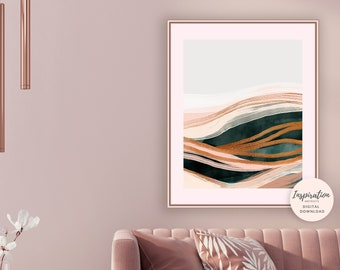 Abstract Landscape, Copper Wall Art, Modern Abstract Art,  Minimal Art, Printable Art, Large Wall Art, Hunter Green Art, Metallic Wall Art