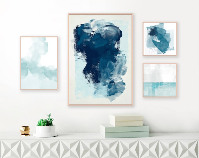 Blue Abstract Gallery Wall, Set of 4 Blue Grey and White Paintings, Instant Download Gallery Wall Art, Printable Minimal Art