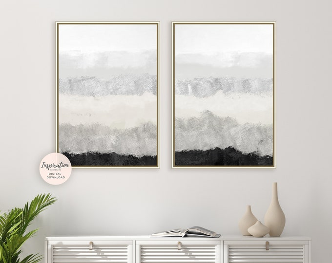 Set Of 2 Minimal Abstract Paintings, Minimalist Print Set, Printable Art, Large Wall Art, Diptych Wall Art, Living Room Decor