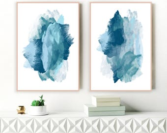 Blue Abstract Art, Set of Two Large Mixed Media Art Prints, Original Art Modern Art, Extra Large Art