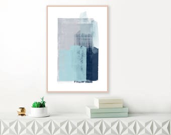 Abstract Art, Blue and Grey Abstract Painting, Minimalist Acrylic Print, Large Downloadable Abstract Art, Modern Digital Download