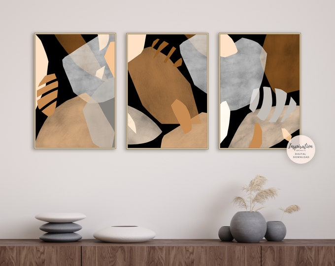 Set of 3 Abstract Collage Prints, Printable Art, Gallery Wall Set, Bold Abstract Art, large Minimalist Prints, Earth Tone Art, Abstract Art