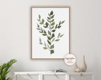 Minimal Leaves Print, Watercolour Painting, Greenery Print, Botanical Wall Art, Modern Art, Printable Art, Leaves Painting, Living Room Art