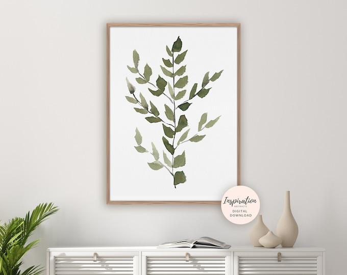 Minimal Leaves Print, Watercolour Painting, Greenery Print, Botanical Wall Art, Modern Art, Printable Art, Leaves Painting, Living Room Art
