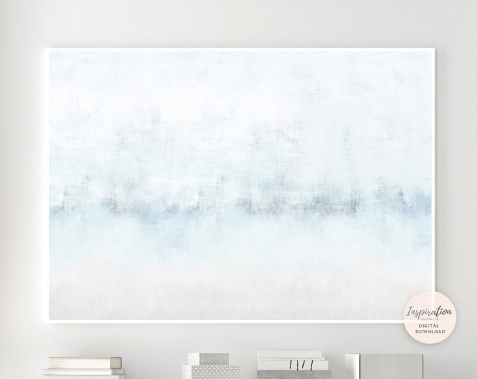 Large Minimal Abstract Painting, Blue Grey Wall Art, Coastal Wall Art, Printable Art, Large Wall Art, Minimalist Art, Zen Wall Art