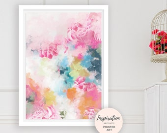 Colourful Floral Print, Large Flower Art, Mixed Media Art, Mixed Media Collage, Large Wall Art, Best Friend Gift, Peony Wall Art