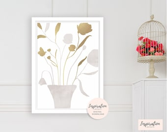Minimal Flower Print, Collage Art, Flower Painting, Beige, White and Gold, Floral Art Print, Elegant Wall Art, Dining Room