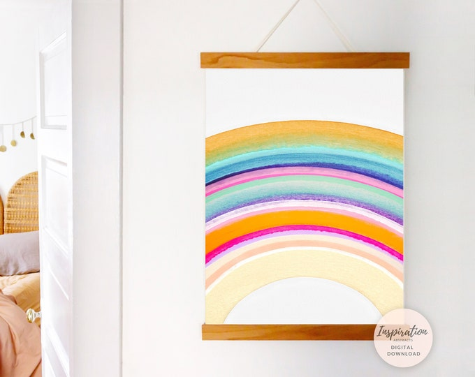 Hand Painted Rainbow Wall Art, Nursery Art, Abstract Wall Art, Watercolour Print, Poster Print, Printable Art, Boho Decor, Nursery Prints