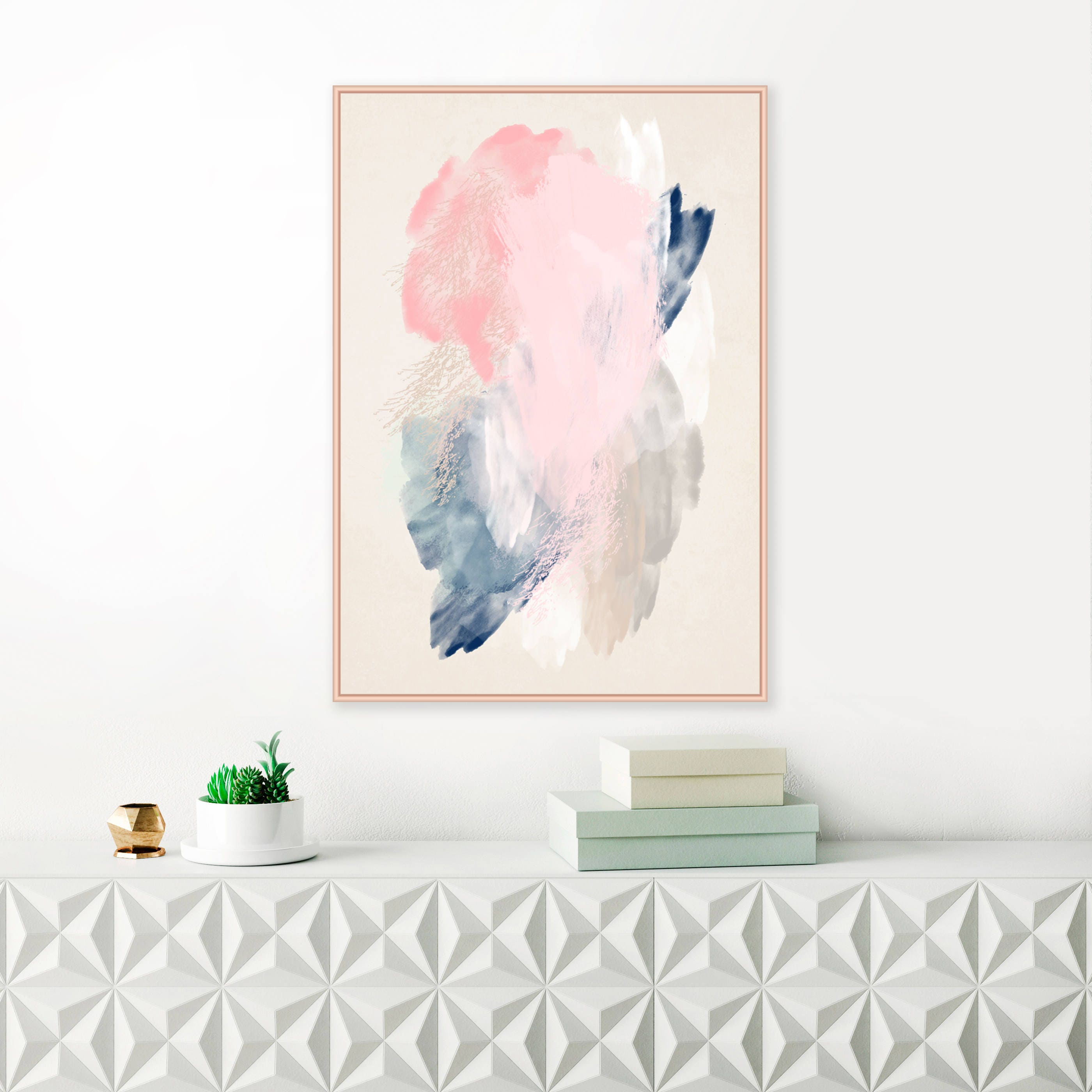 Pink and navy blue abstract art pale pink blue and grey painting