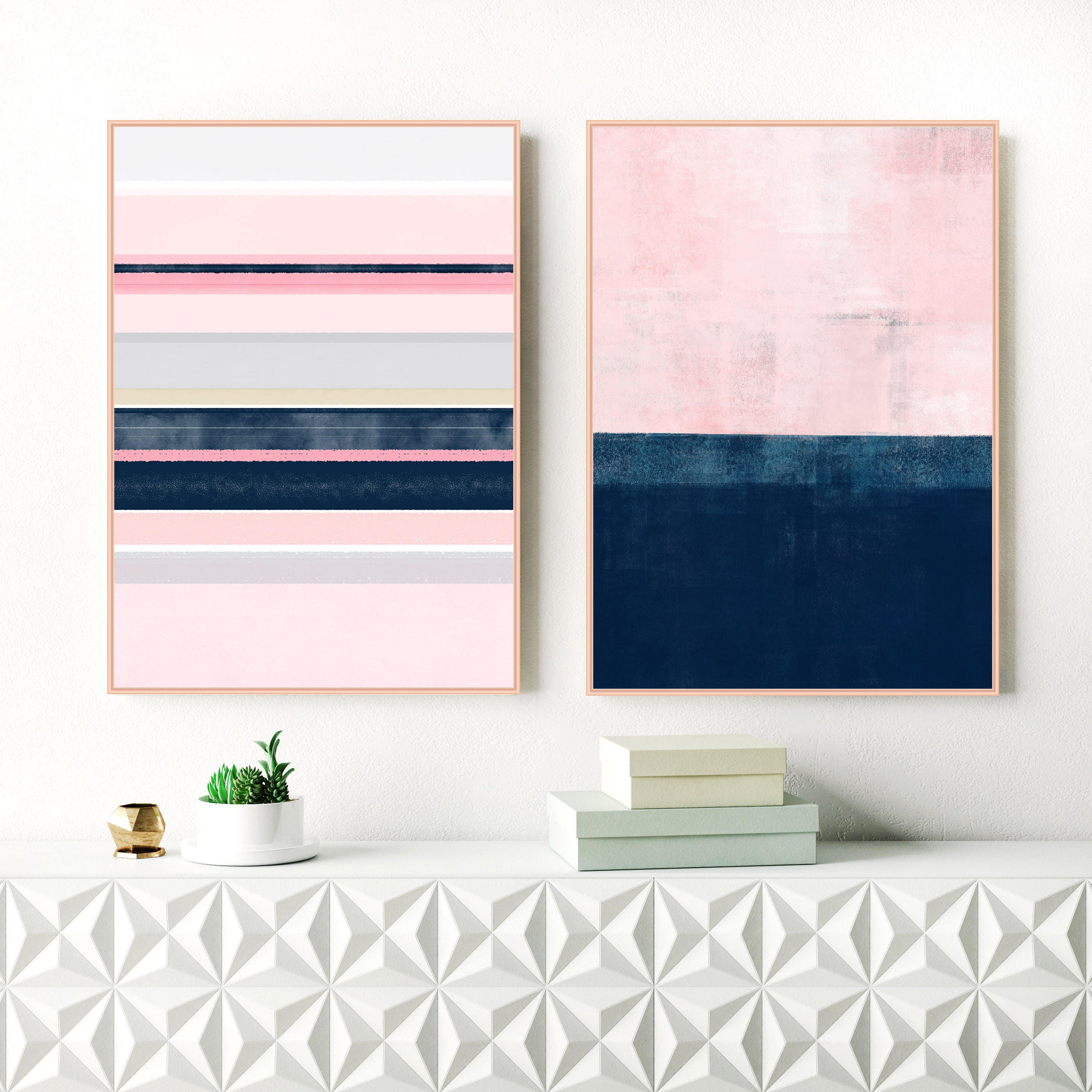 Pink and navy abstract prints printable pale pink and indigo