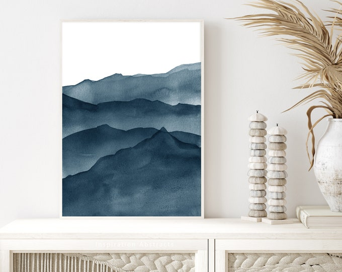 Navy Blue Watercolour Painting, Mountain Print, Abstract Art, Downloadable Print, Office Wall Art