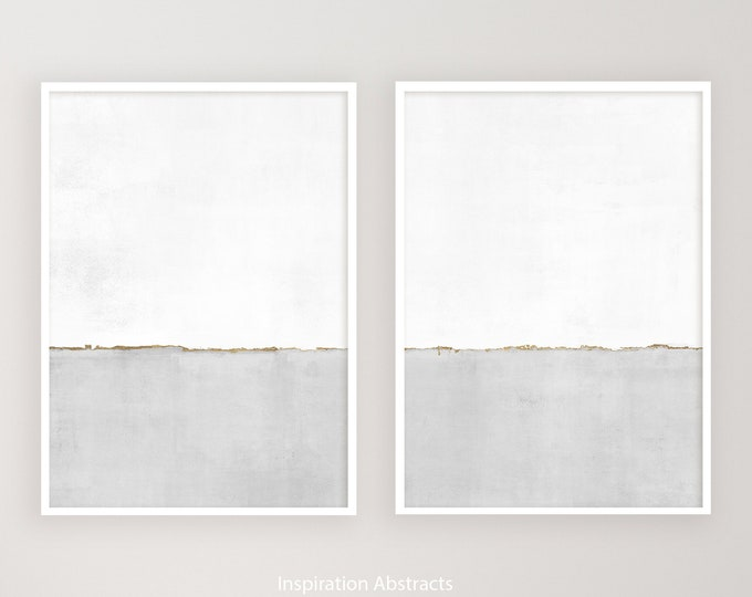 Grey White and Gold Minimal Abstract Paintings, Framed Wall Art, Neutral Art Prints, Minimalist Art, Abstract Wall Art, Living Room Decor