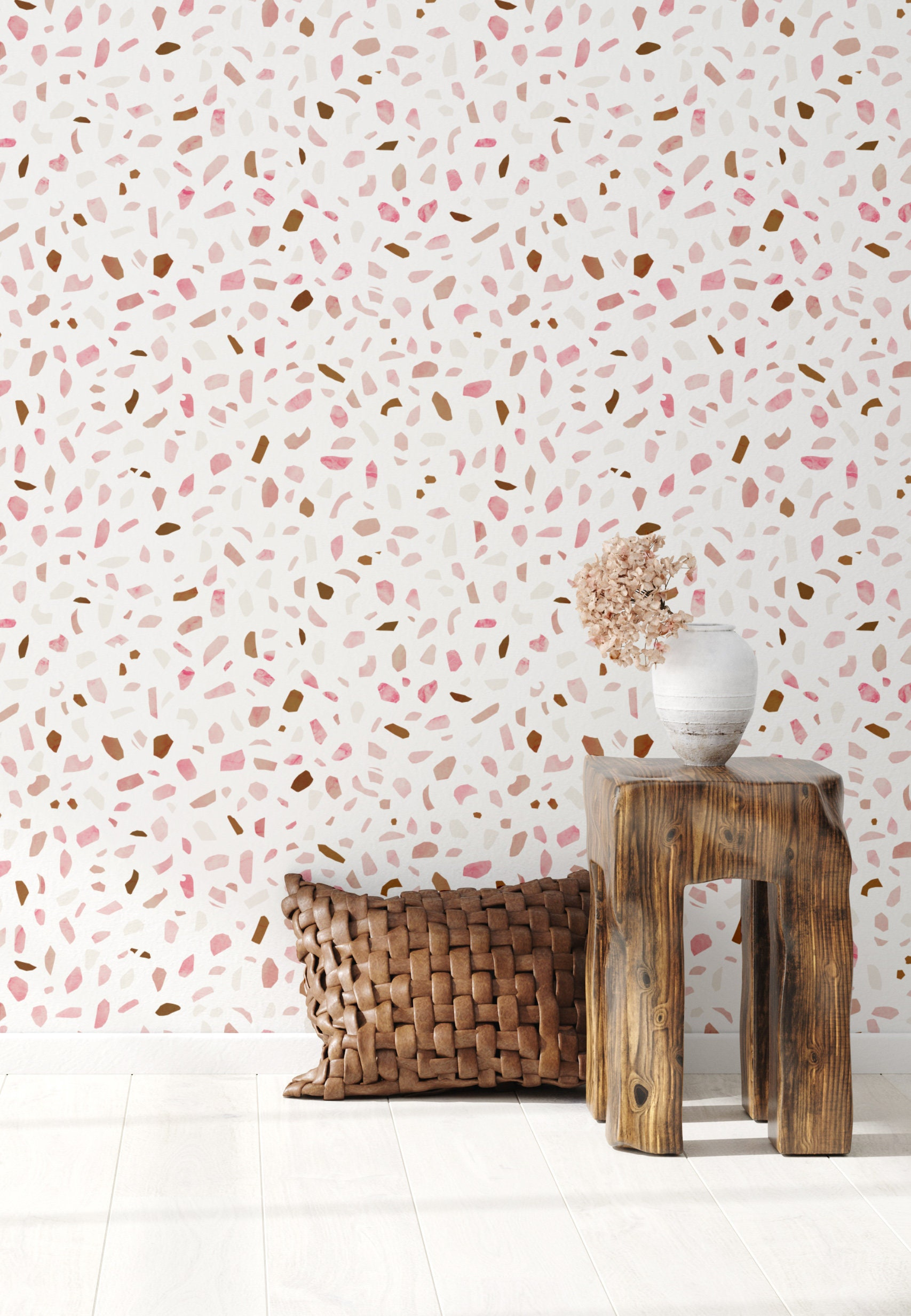 Pink Terrazzo Wallpaper Abstract Wallpaper Removable Wallpaper Feminine Wallpaper Peel And Stick Wallpaper Office Decor