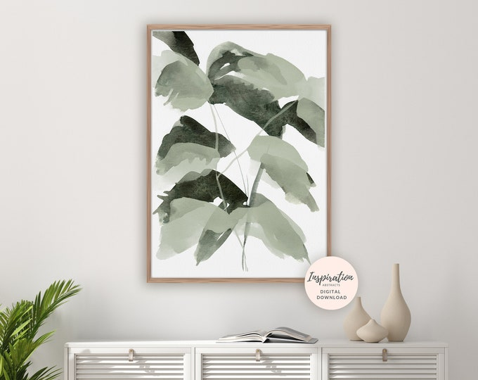Abstract Leaves Print, Greenery Art, Botanical Poster, Watercolour Painting, Modern Art, Printable Art, Leaves Painting, Green Wall Art
