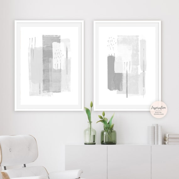 Large Minimal Art Grey White Wall Abstract Set Of Etsy