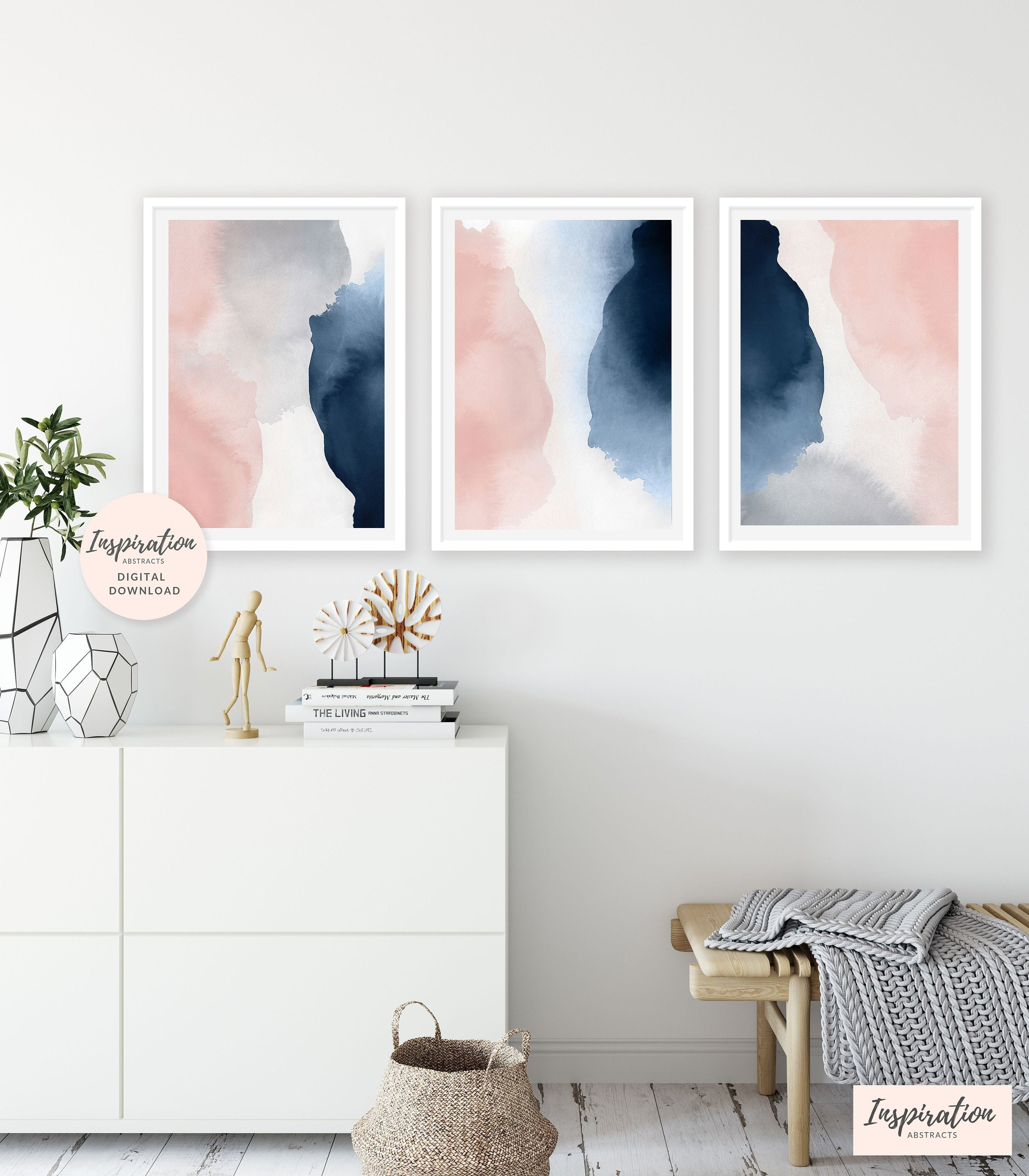 Large wall art set of 3 prints pink navy wall art oversized wall