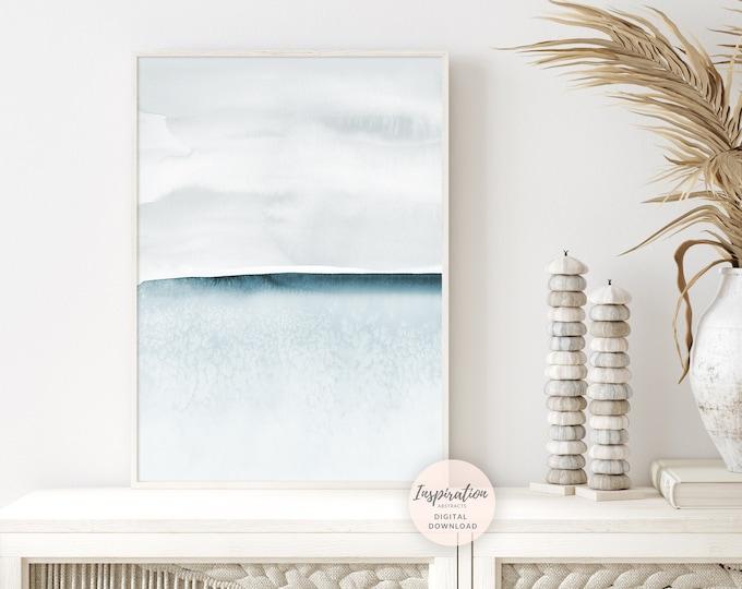Light Blue Watercolour Painting, Minimal Landscape, Printable Art, Zen Wall Art, Abstract Art, Coastal Wall Art, Nursery Print