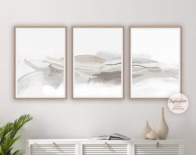 Minimal Abstract Prints, 3 Piece Wall Art, Minimalist Art, Large Wall Art, Zen Wall Art, Living Room Art, Modern Art Print, Abstract Art Set