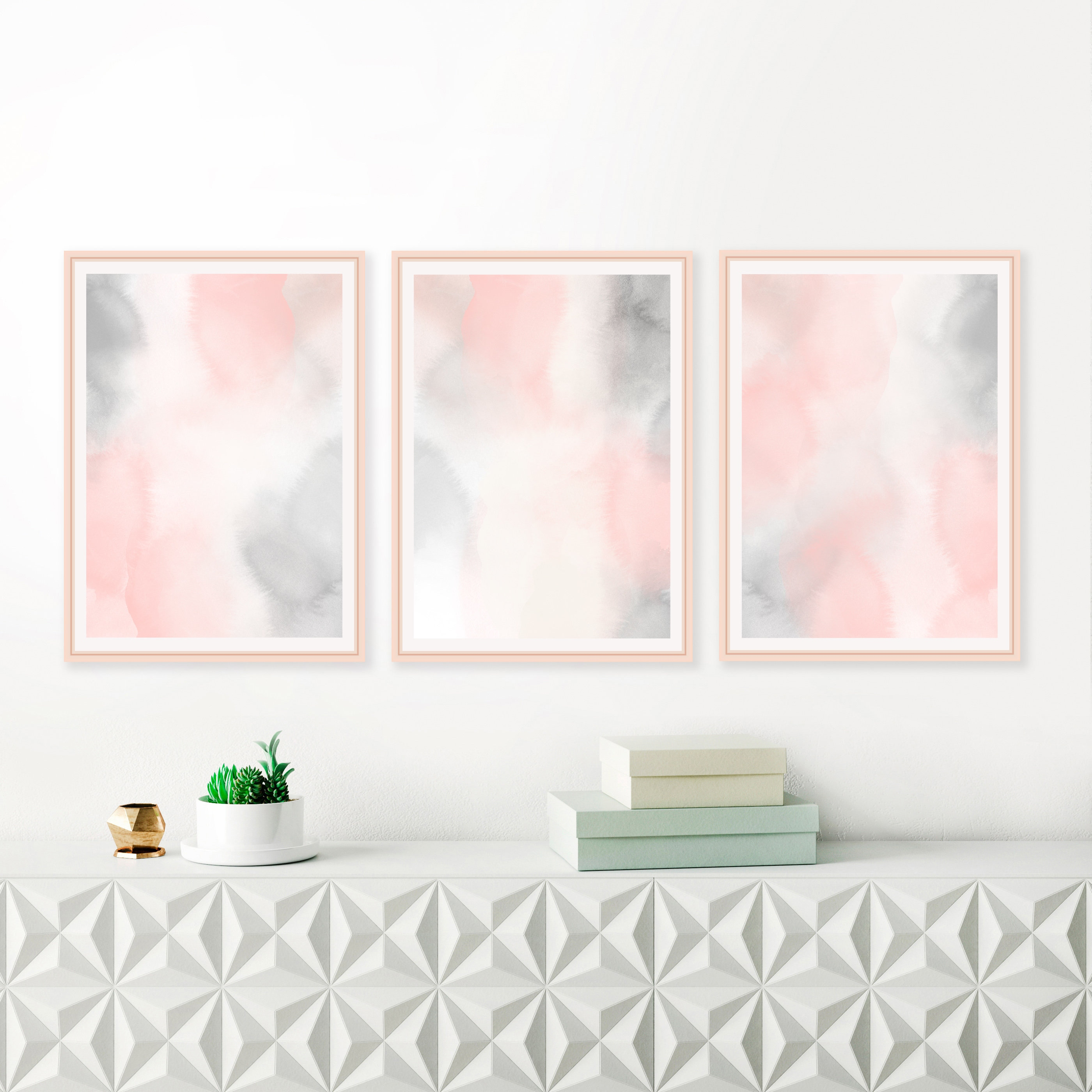 printable blush pink and grey watercolour paintings baby girls rh inspirationabstracts com