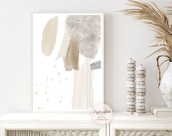 Beige And Grey Mixed Media Abstract Painting, Printable Wall Art, Zen Wall Art, Large Minimal Art, Boho Decor, Contemporary Art