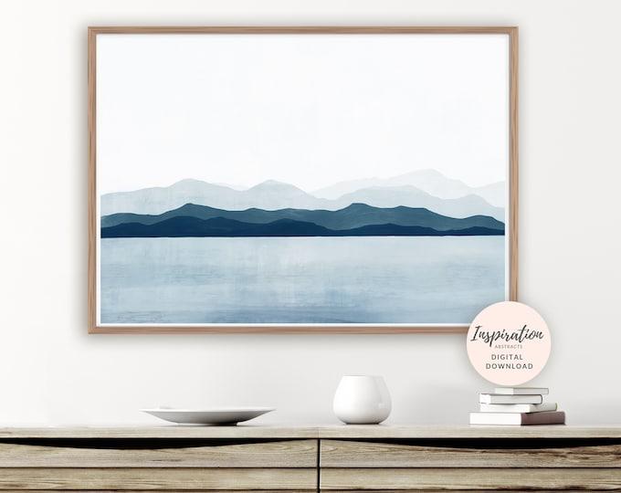 Calming Landscape Painting, Mountain Print, Modern Wall Art, Minimal Painting, Large Wall Art, Printable Art, Scandinavian Art