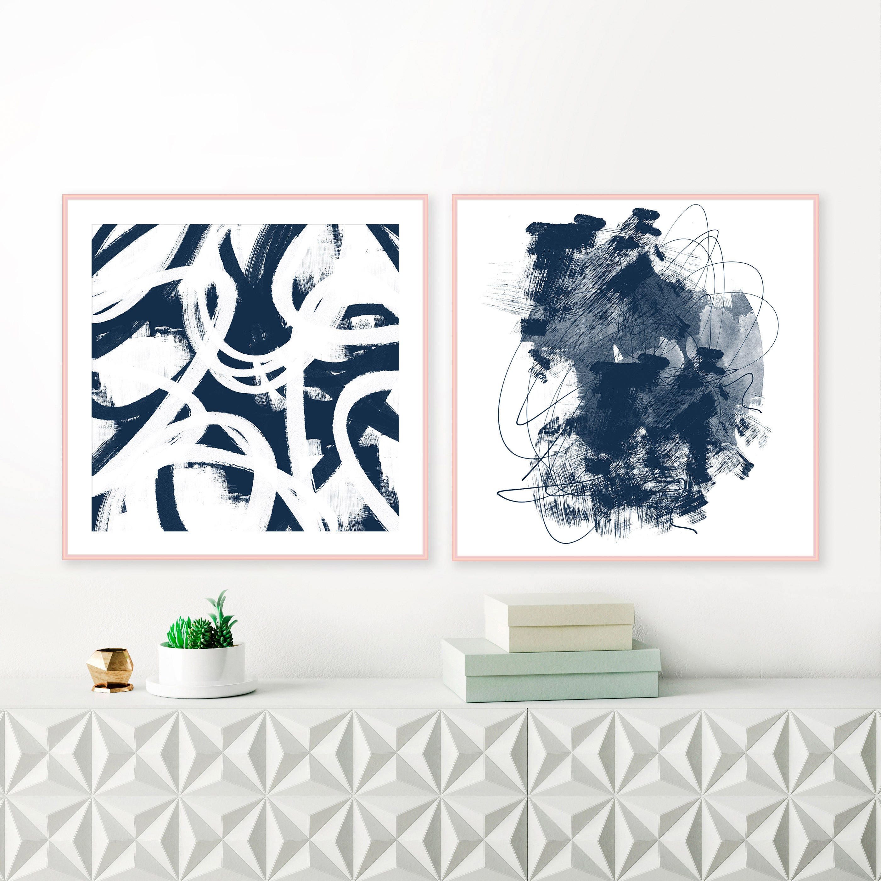 Navy Wall Art Set Of 2 Paintings Abstract Art Square Art Prints