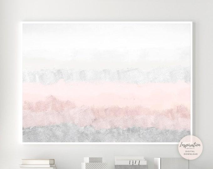Pink and Grey Abstract Painting, Calming Wall Art, Printable Art, Nursery Wall Art, Large Wall Art, Abstract Art, Bedroom Wall Art