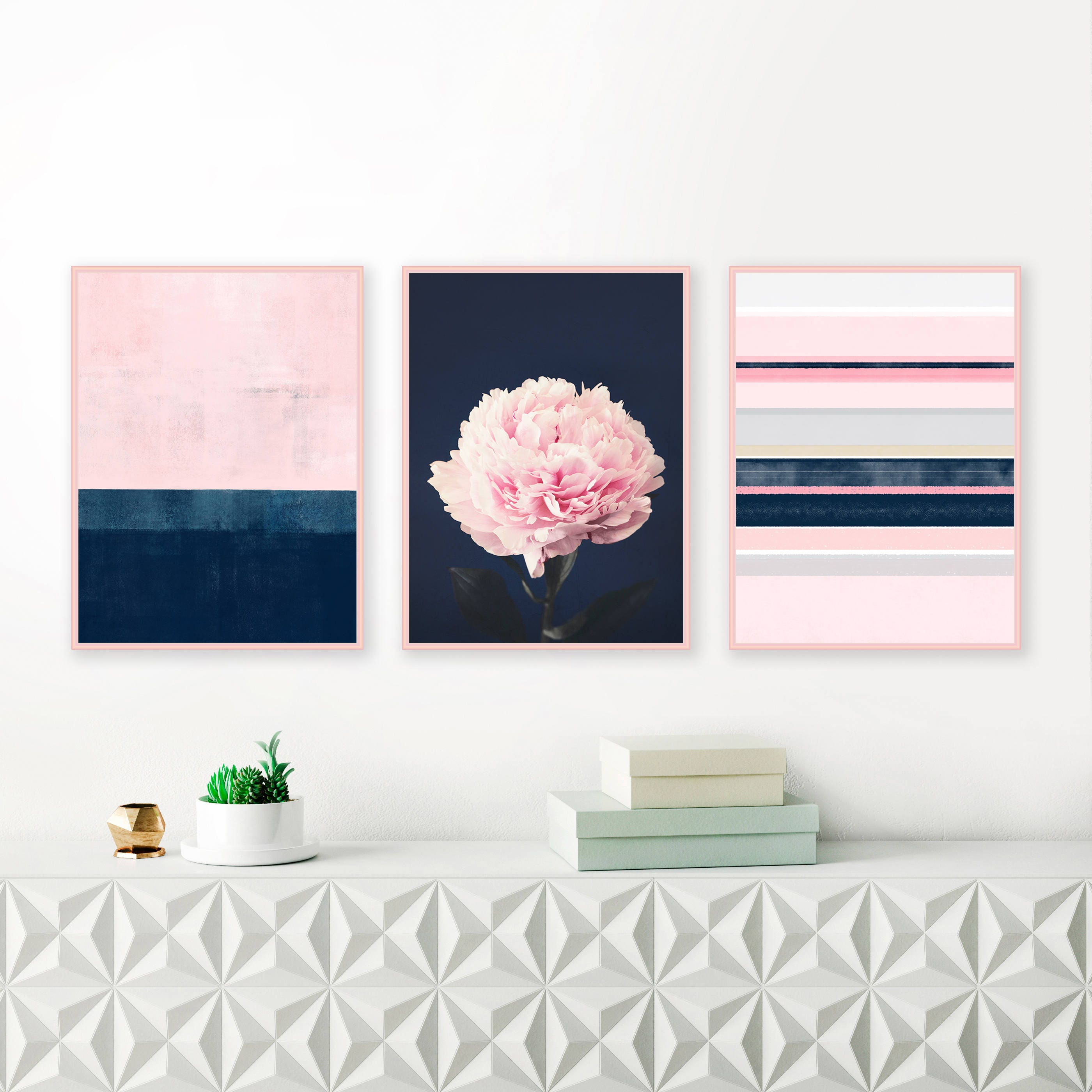 Pink and navy gallery wall art set of 3 prints modern prints abstract art peony print bedroom art living room art wall