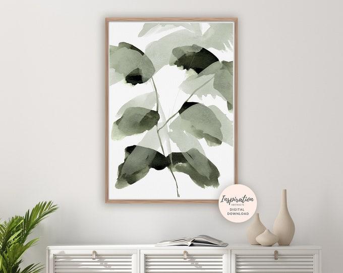 Watercolour Leaves Print, Greenery Wall Art, Botanical Poster, Watercolour Print, Modern Art, Printable Art, Leaf Poster, Abstract Wall Art