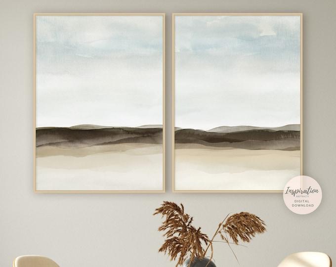 Set of Two Modern Landscape Paintings, Watercolour Print Set, Coastal Wall Art, Lake House Decor, Printable Art, Large Wall Art