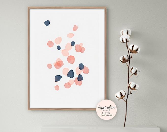 Pink and Navy Geometric Print, Abstract Wall Art, Watercolour Print, Minimal Painting, Printable Art, Large Wall Art, Inspiration Abstracts