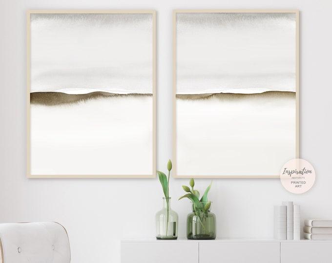 Set of Two Grey Minimal Abstract Paintings, Grey Brown Wall Art, Neutral Art Prints, Minimalist Art, Abstract Art,