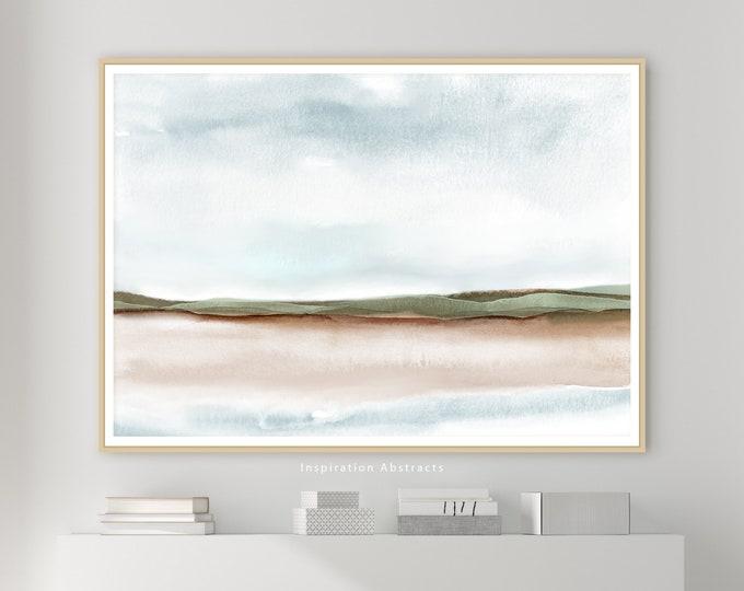 Serene Landscape Painting, Zen Wall Art, Large Watercolour Print, Neutral Art Print, Abstract Art, Modern Wall Art, Instant Download