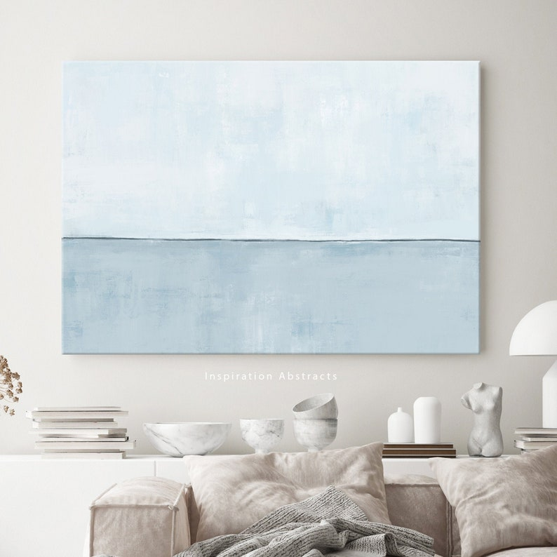 Minimal Blue Canvas Print Large Abstract Painting Canvas image 0
