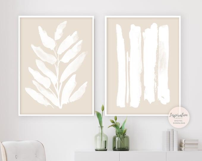 Set Of Two Prints, Beige White Minimalist Print Set, Brushstrokes Art, Minimalist Wall Art, Printable Art, Simple Wall Art, Zen Wall Art