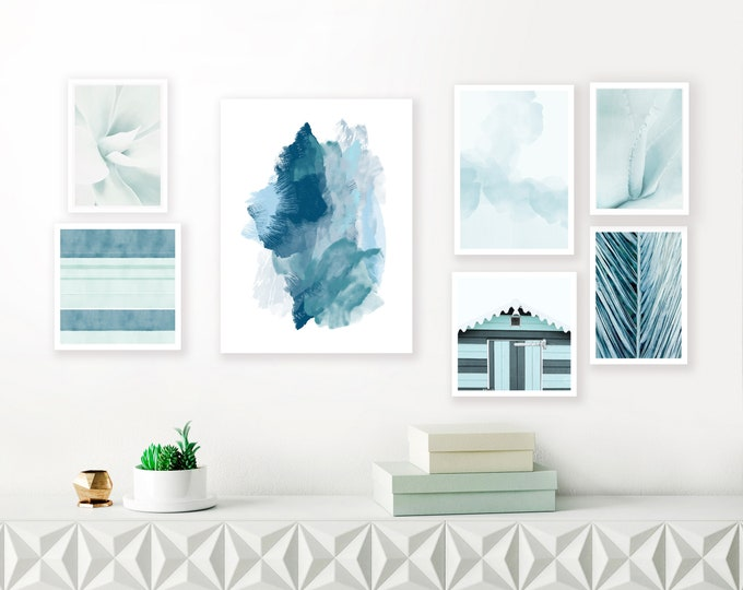 Blue Abstract Art, Gallery Wall Art, Printable Wall Art, Watercolour Paintings, Beach Hut Print, Nautical Decor