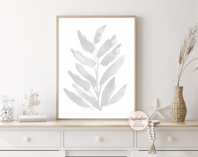 Minimal Grey Botanical Print, Modern Zen Wall Art, Downloadable Art, Simple Wall Art,Large Minimal Art, Minimalist Print, Office Wall Art