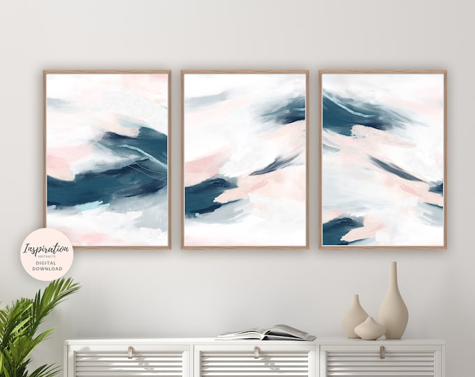 Set Of 3 Pink and Navy Abstract Paintings, 3 Piece Wall Art, Gallery Wall Set, Printable Art, Bedroom Art, Large Wall Art, Digital Prints