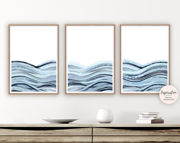 Minimalist Print Set, Printable Art, Set of 3 Prints, Coastal Wall Art Set, Zen Wall Art, Watercolour Prints, 3 Piece Wall Art