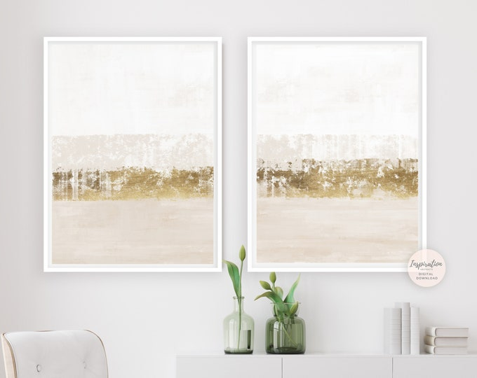 Beige White And Gold Minimal Abstract Paintings, Gold Leaf Painting, Set of 2 Prints, Minimalist Print Set, Printable Art, Abstract Art