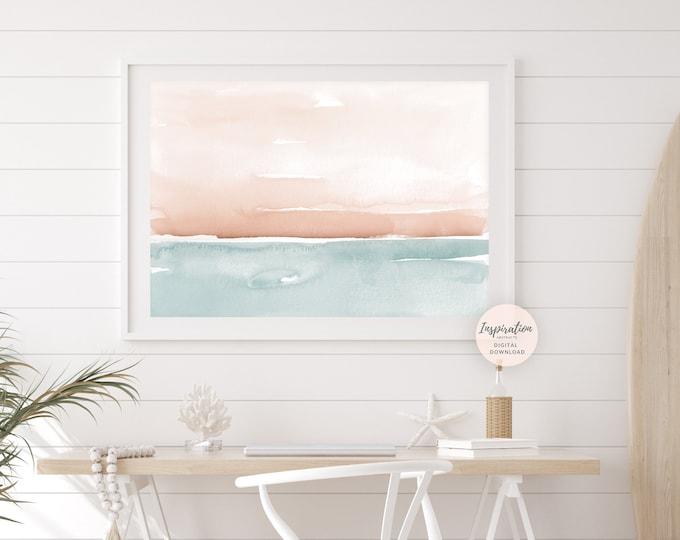 Large Watercolour Painting, Coastal Wall Art, Large Minimal Art, Printable Art, Landscape Painting, Zen Wall Art, Abstract Art