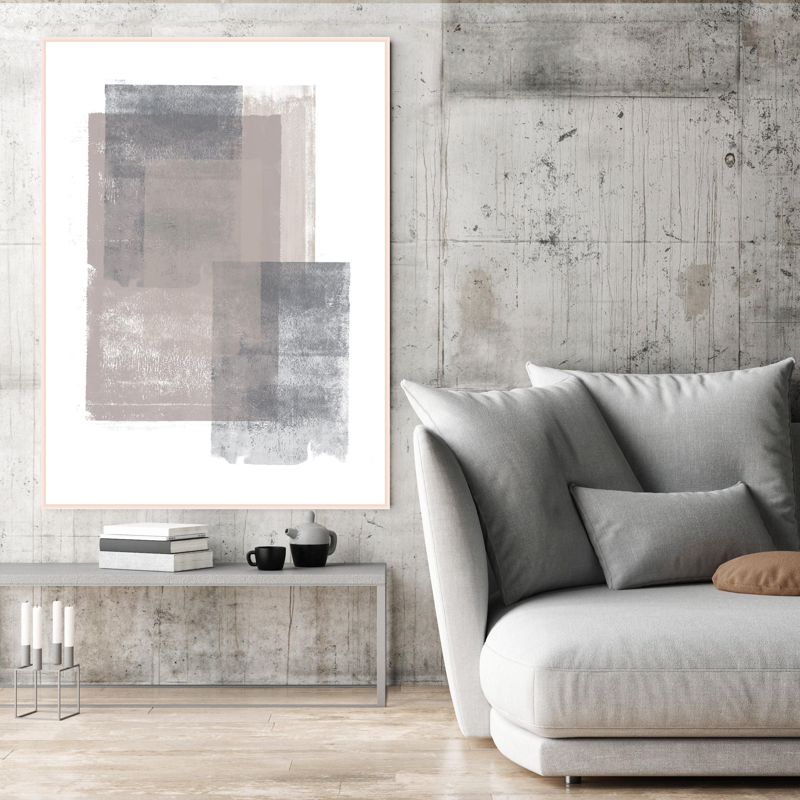 Grey and Brown Abstract Art, Large Minimalist Painting, Living Room ...