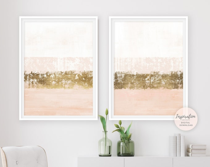 Blush Pink And Gold Minimal Abstract Paintings, Blush Pink Wall Art, Gold Leaf Painting, Set of 2 Prints, Printable Wall Art, Abstract Art