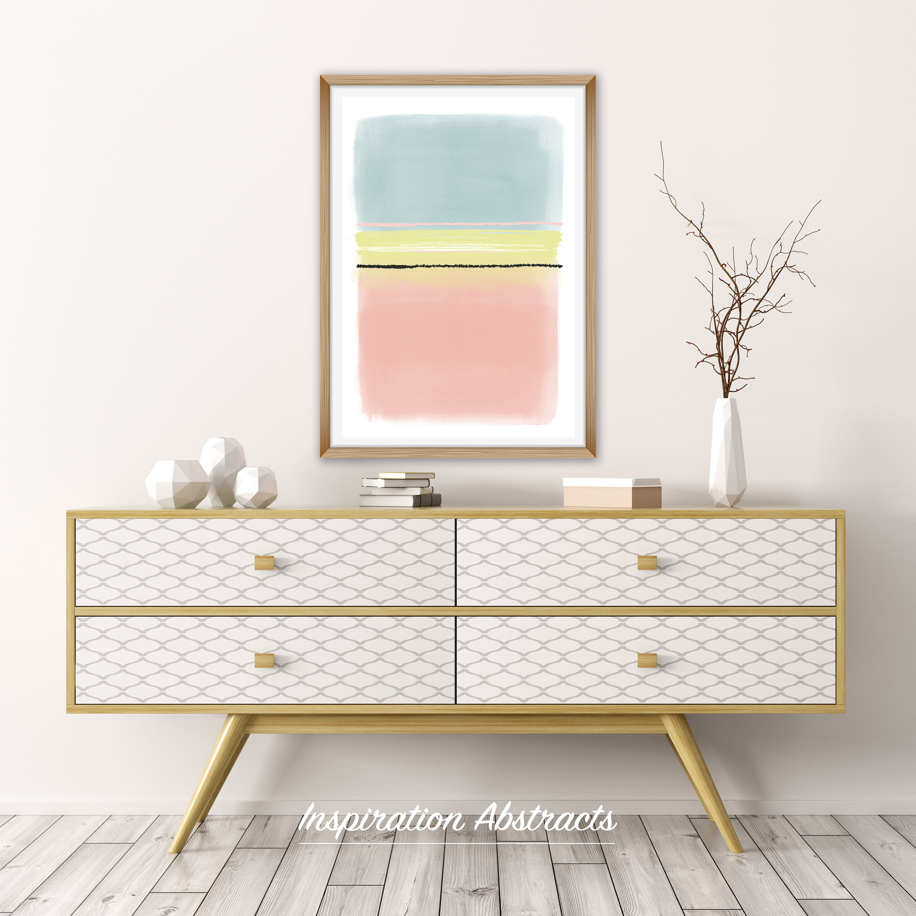 Large Minimalist Painting, Pink Blue Yellow Abstract Art, Printable Oversized