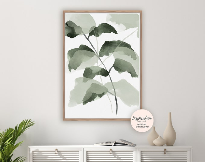 Abstract Leaves Poster, Plant Prints, Greenery Wall Art, Botanical Poster, Watercolour Print, Modern Art, Printable Art, Leaf Poster